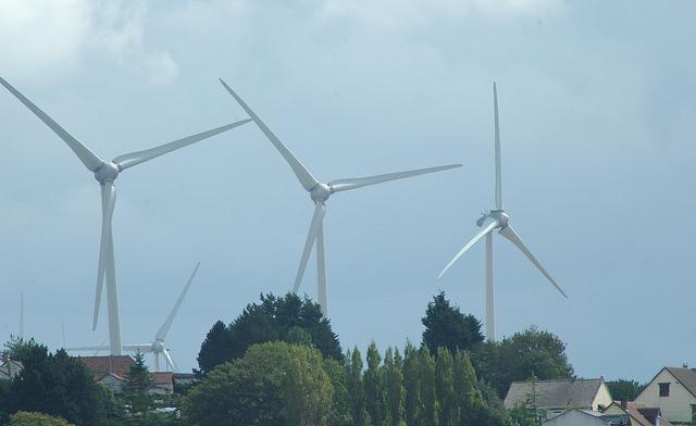 éoliennes à Criel sur Mer, Seine Maritime, France