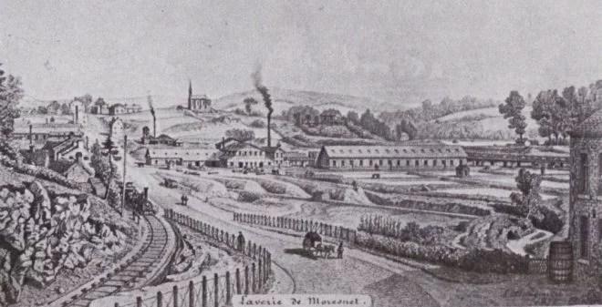 Lithographie représentant le site de la Société de la Vieille-Montagne, notamment sa laverie, après son essor du milieu du XIXe siècle