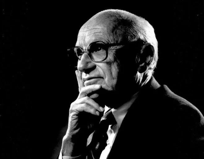 Portrait de Milton Friedman, Wikipedia.