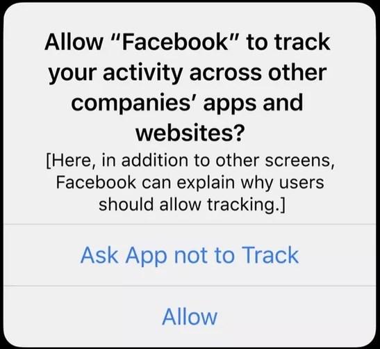 Exemple de pop-up qui apparaîtra désormais sur votre iPhone avec App Tracking Transparency