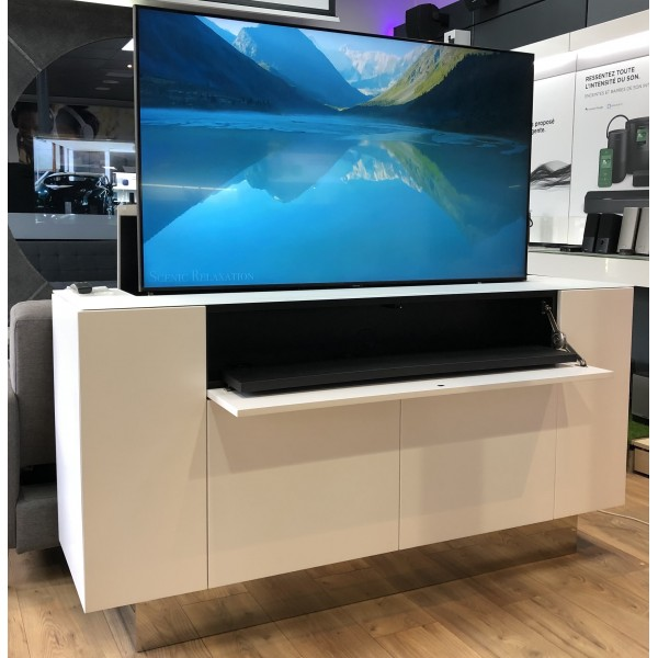 meuble tv elevateurs d ecran 55 avec barre de son integree