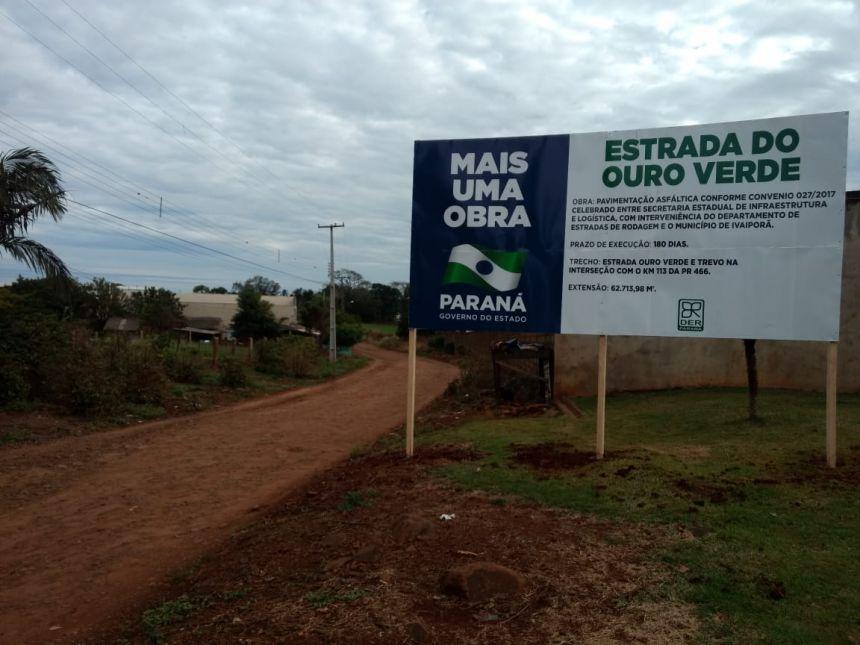 Prefeitura de Ivaiporã iniciará obra de pavimentação asfáltica na estrada do Ouro Verde na próxima semana