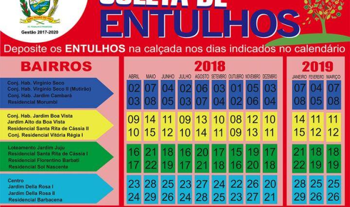 Prefeitura distribuiu calendário de coleta de entulhos à população 4b2b505bdb3