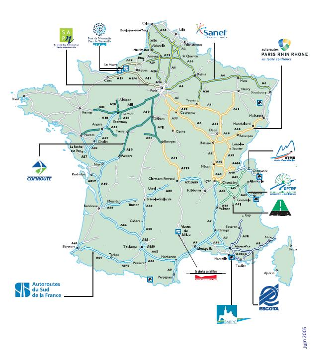 french highways map of france