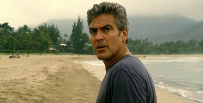 George Clooney on a beach in the movie Descendents