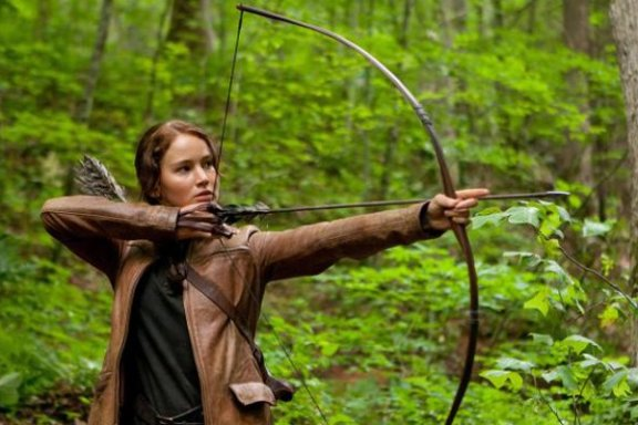 Jennifer Lawrence as Katnis in the Hunger Games