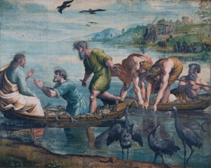 Jesus and the miraculous catch of fish, in the Sea of Galilee, by Raphael