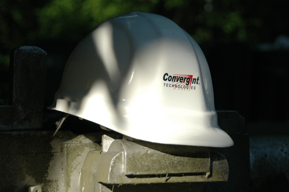 White Convergint hard helmet