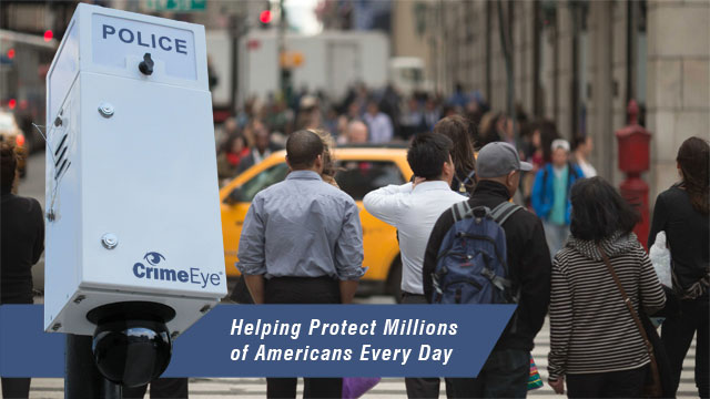 citizens walking in street protected by crime eye