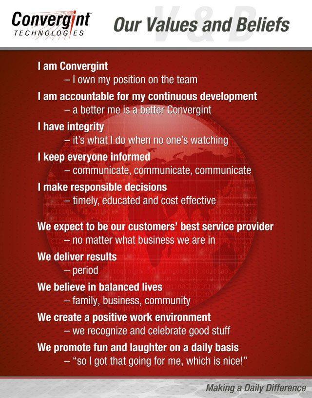 Convergint Technologies 10 Value Beliefs