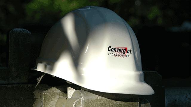 Convergint Technologies white hard protective helmet