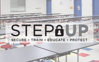 Lunch cafeteria with STEP Up logo