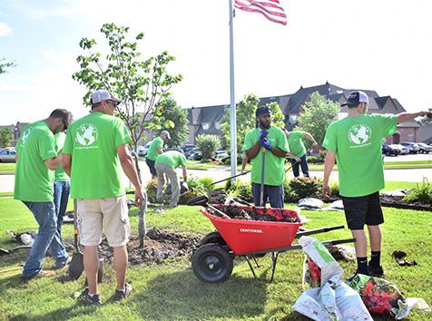 People planting