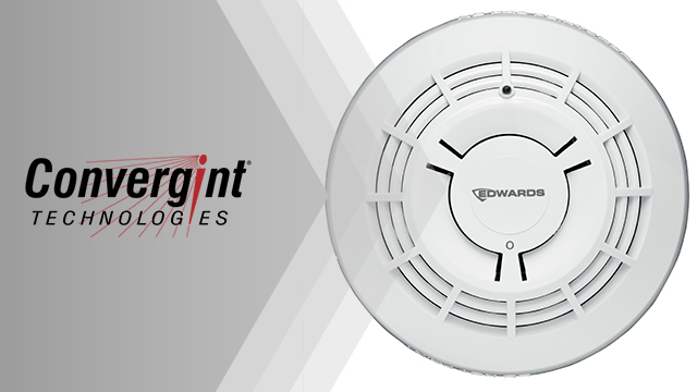 Convergint Logo with Edwards Fire Detector