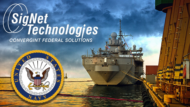 Navy ship with SigNet and Navy logos