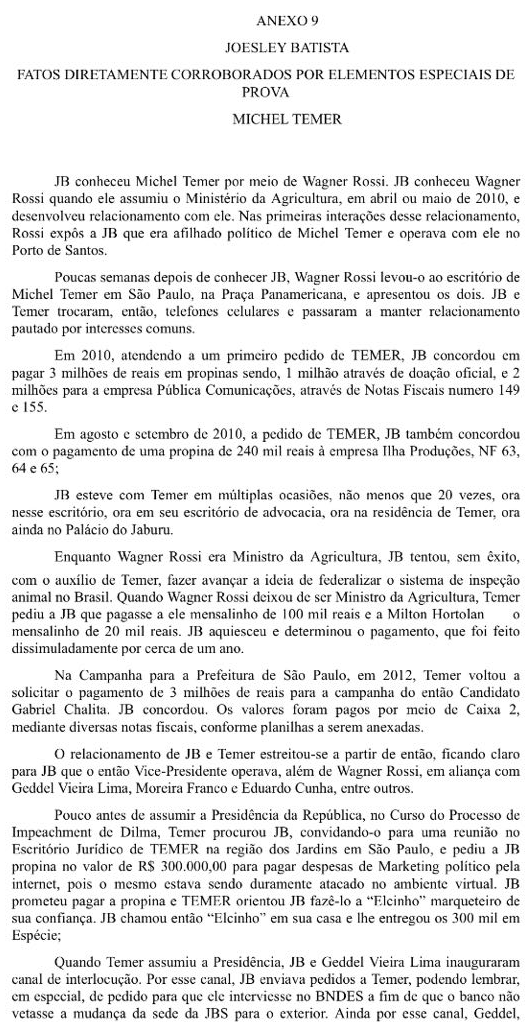 Anexo da delação de Joesley Batista, citando o atual presidente Michel Temer - Parte 1