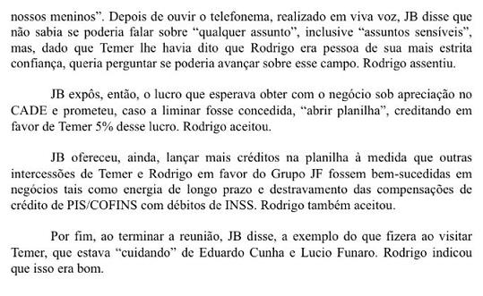 Anexo da delação de Joesley Batista, citando o atual presidente Michel Temer - Parte 3