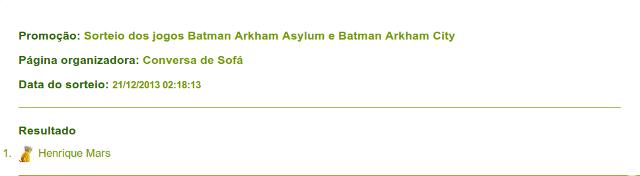 Resultado do Sorteio Batman