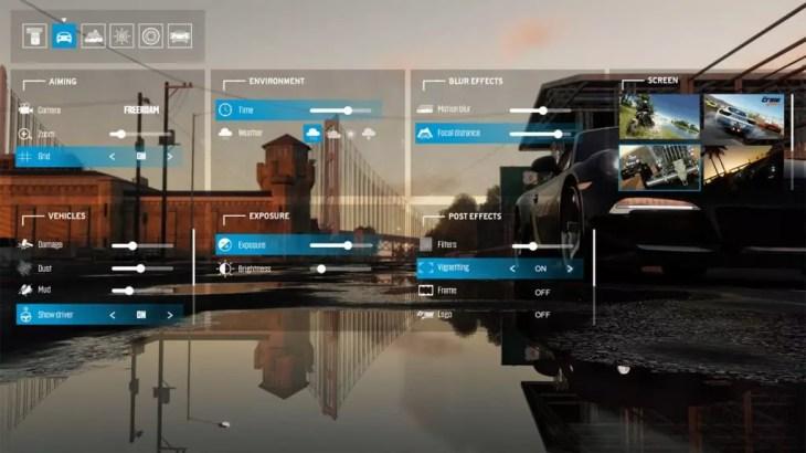 menu configuração do photo mode de the crew