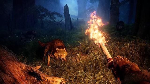 Na noite de Far Cry Primal,  o fogo é seu melhor aliado