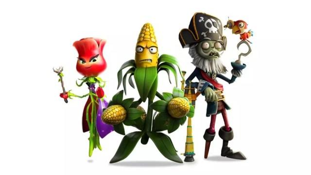 Rosa, Coronel Milho e Capitão Barbamorta, alguns dos novos personagens de Plants vs Zombies Garden Warfare 2