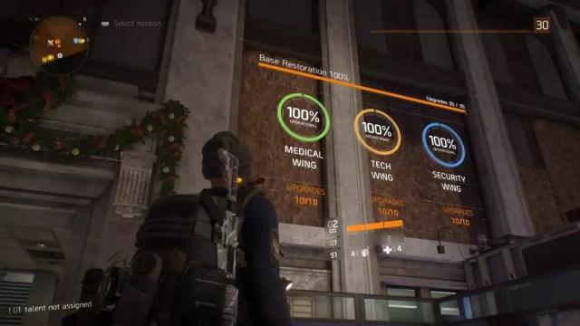 Alas da base de operações de The Division 100% completas