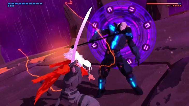 Imagem da luta contra um chefão em Furi