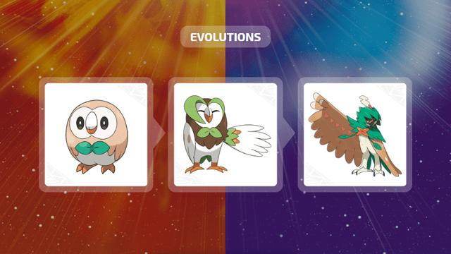 Rowlet, Dartrix e Decidueye em Pokémon Sun & Moon