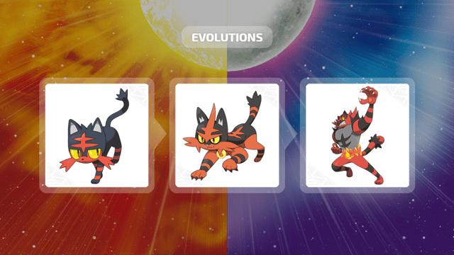 Litten, Torracat e Incineroar em Pokémon Sun & Moon