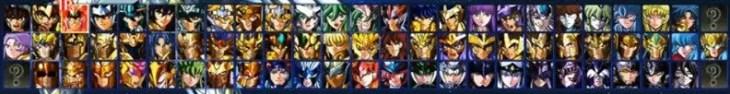 Quadro de seleção de personagens de Cavaleiros do Zodíaco: Alma dos Soldados