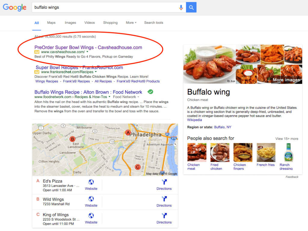 buffalo wings search google adwords
