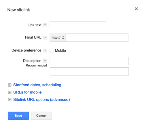AdWords Sitelinks Setup Screen