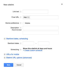 AdWords Sitelink Extensions setup screen