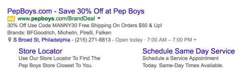 Pep Boys Ad Campaign with sitelinks