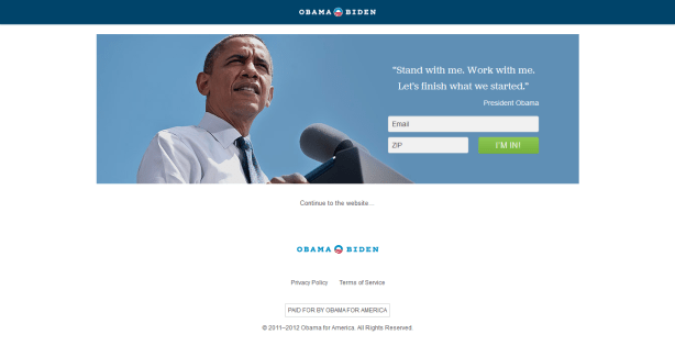 barak obama - email capture landing page optimization