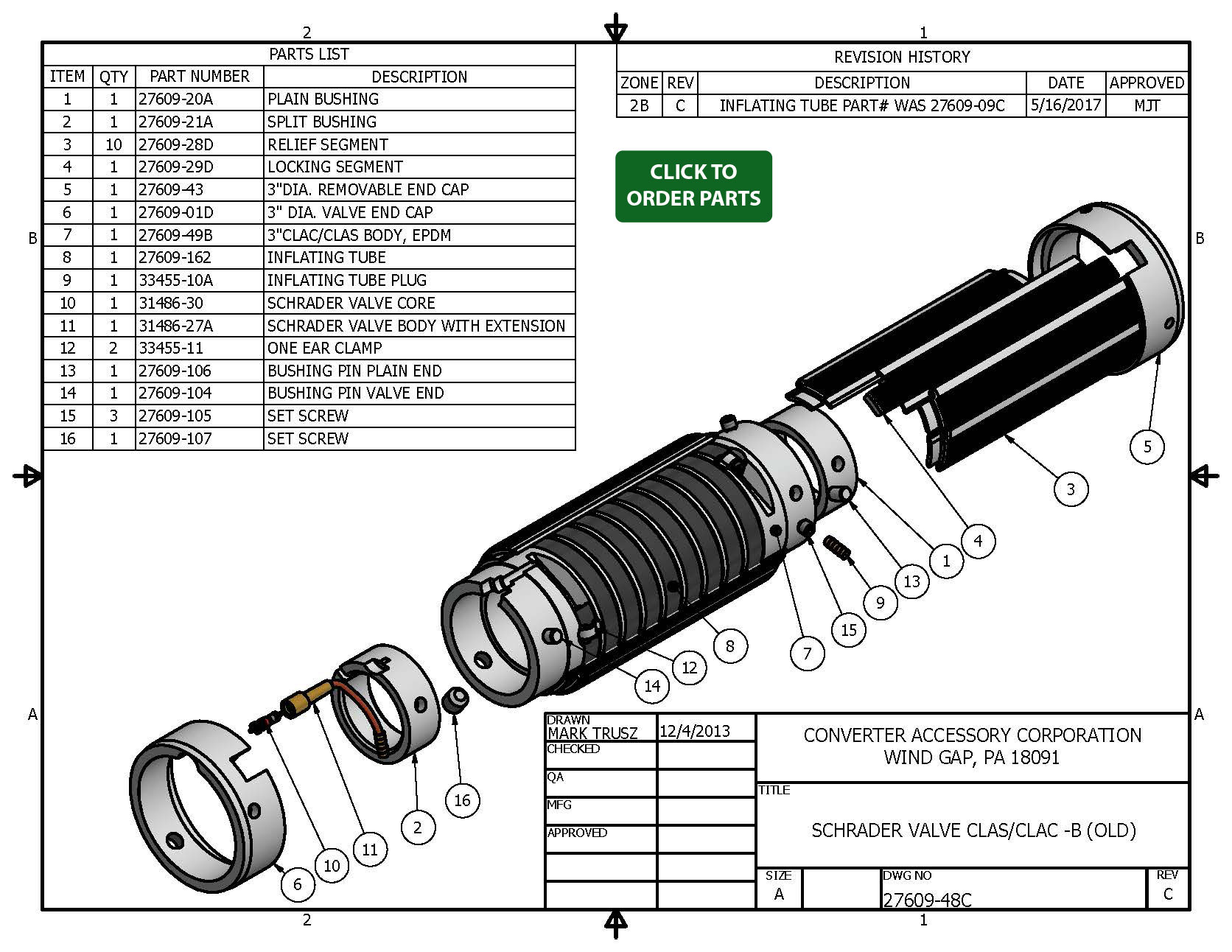 Cor Lok B Air Shafts And Chucks With Old Style Epm