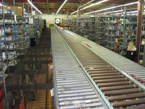 Roller conveyor in factory