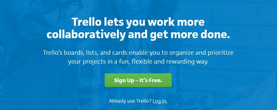 Trello value proposition on landing page