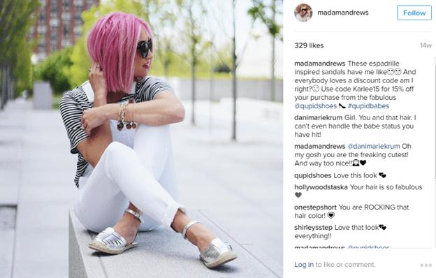 Instagram influencer offering promo code