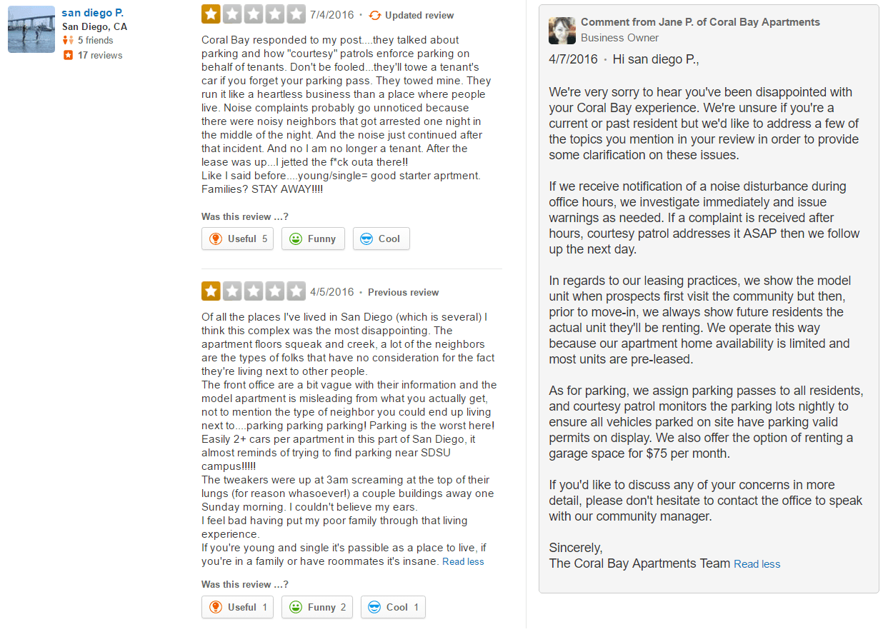 Response to negative Yelp review