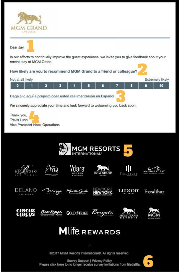 MGM Net Promoter Score Survey Email