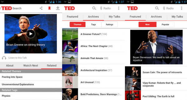 Watch video lectures with TED mobile app