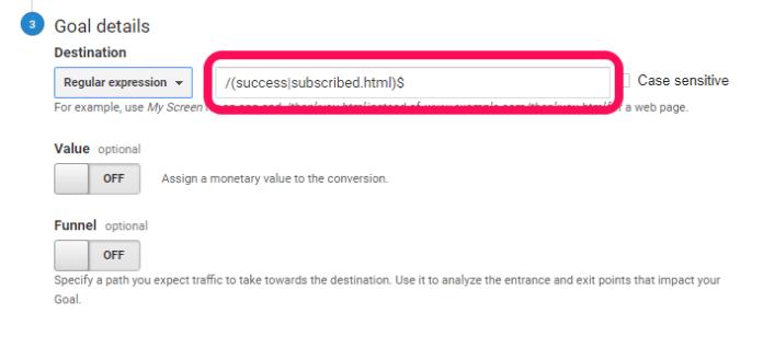 Google Analytics multiple goal tracking