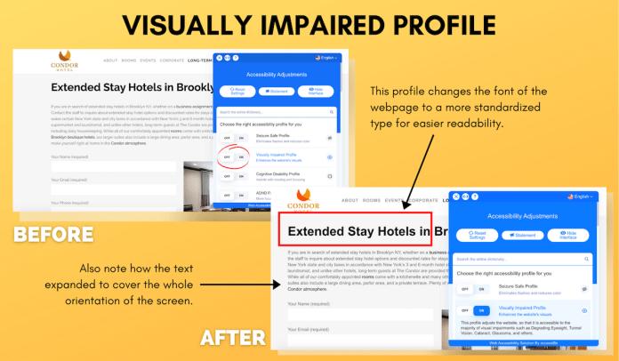 Condor Visually Impaired Website Profile