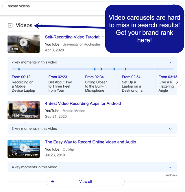 Example of video carousels in Google search results