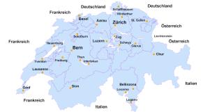 Schweiz Karte und Städte