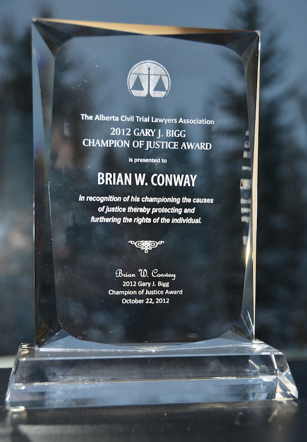 Winner of 2012 Gary J. Bigg Champion of Justice Award
