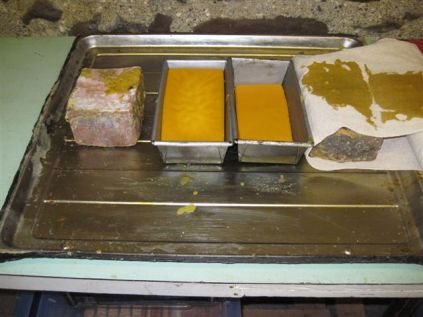 Casting blocks of beeswax