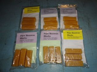 Small beeswax blocks ready for sale