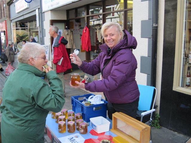 Selling honey at Conwy Honey Fair